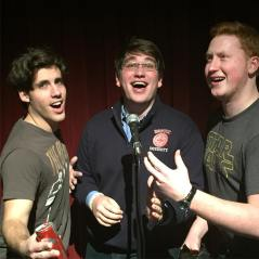 With my best friends Dan Leary, Ben Long singing at an Emerson talent show (2015)