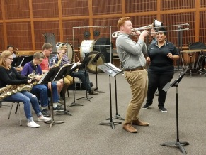 Soloing with the JMU Jazz Ensemble and guest conductor, Mayor Deanna R. Reed (2018)